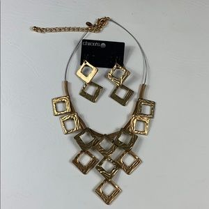 Gold Chico's Geometric necklace earring set